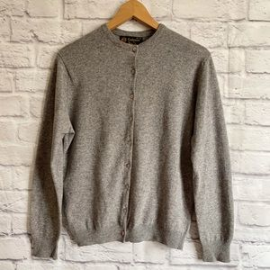 PRINGLE CASHMERE Gray Cardigan Wool Knit Button Down